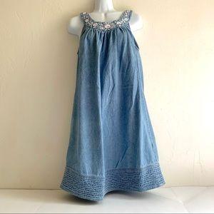Blue Denim Sleeveless Dress Embroidered Bodice